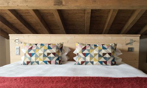 Ski Chalet Bedroom, Courchevel, France by Surrey based interior designer Hilary White Interiors