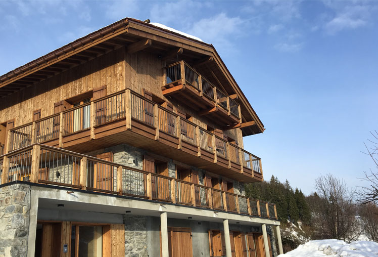 Ski Chalet Courchevel Exterior designed by Surrey based interior designer Hilary White Interiors