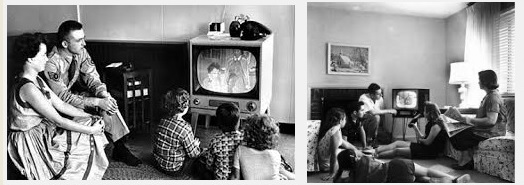 A family around the TV in the 1950s, TV is the focal point of the room in the interior design scheme