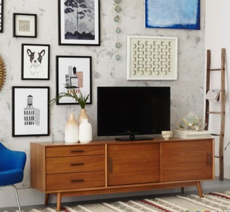 Placing a television on a sideboard in an interior design scheme