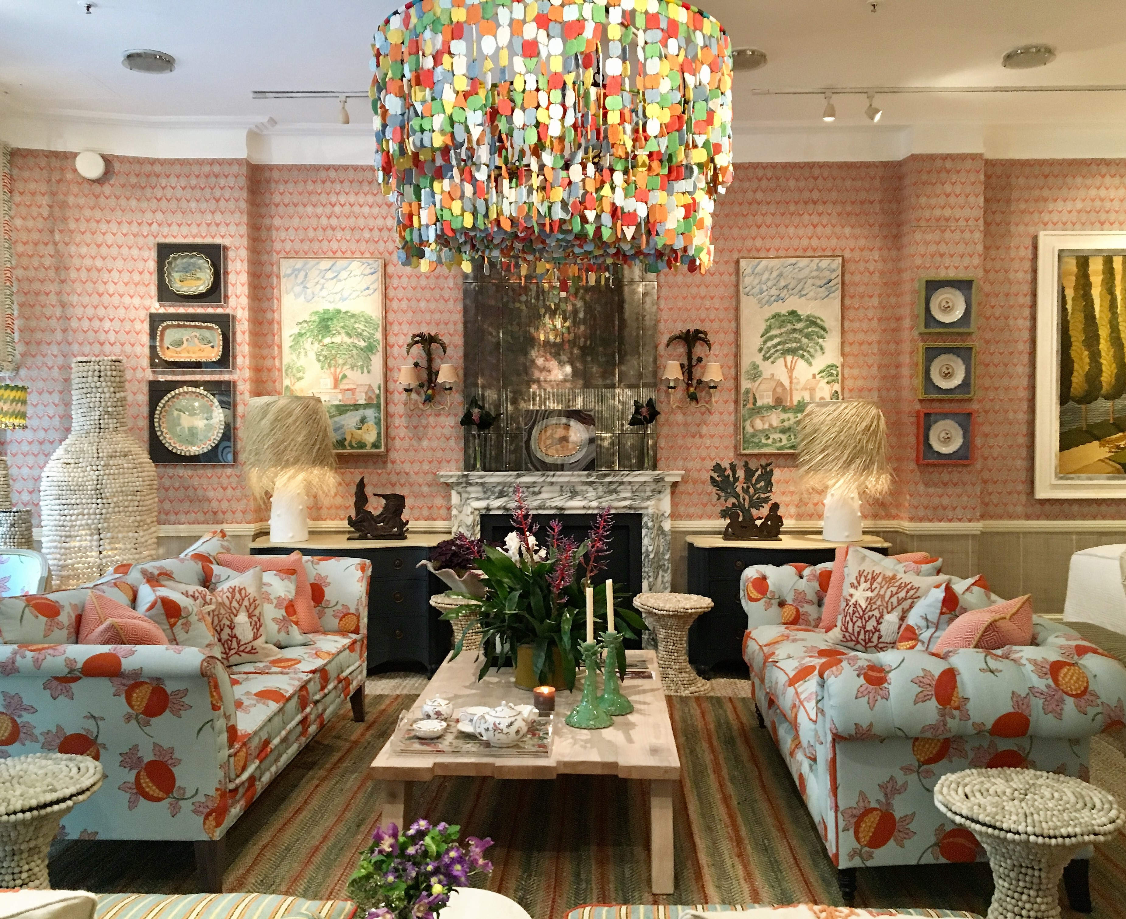 Carribean inspired room by leading interior designer Kit Kemp in the Turnell and Gigon showroom at Focus 2018 in the London Design Festival