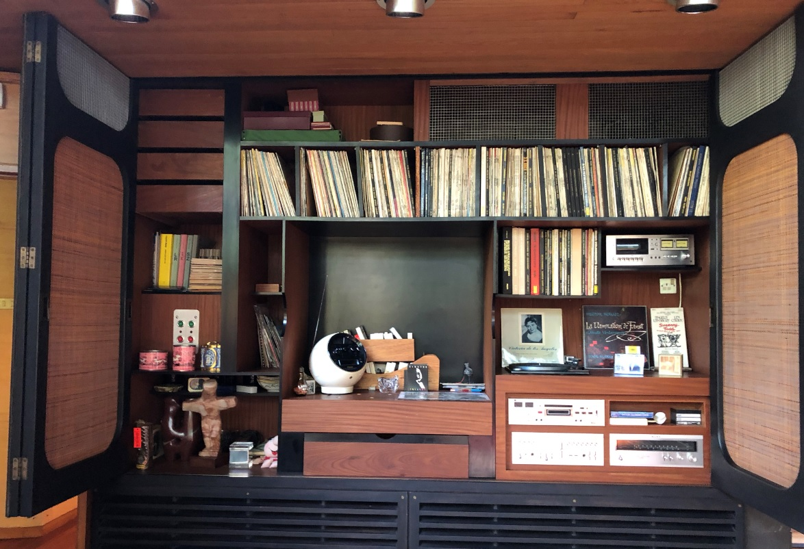 Mid century modern media unit at the Stanley Picker House in Surrey