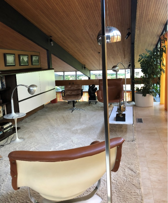 The Stanley Picker House library in Surrey, mid century modern interior design in Surrey
