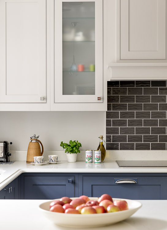 dark blue shaker kitchen designed by interior designer Hilary White in cobham surrey