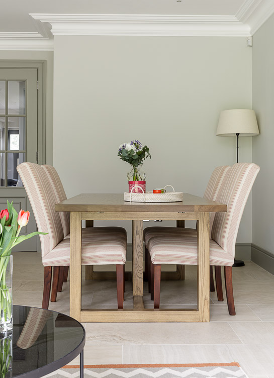 Wimbledon dining room table by I&JL Brown in a modern townhouse in Cobham in Surrey