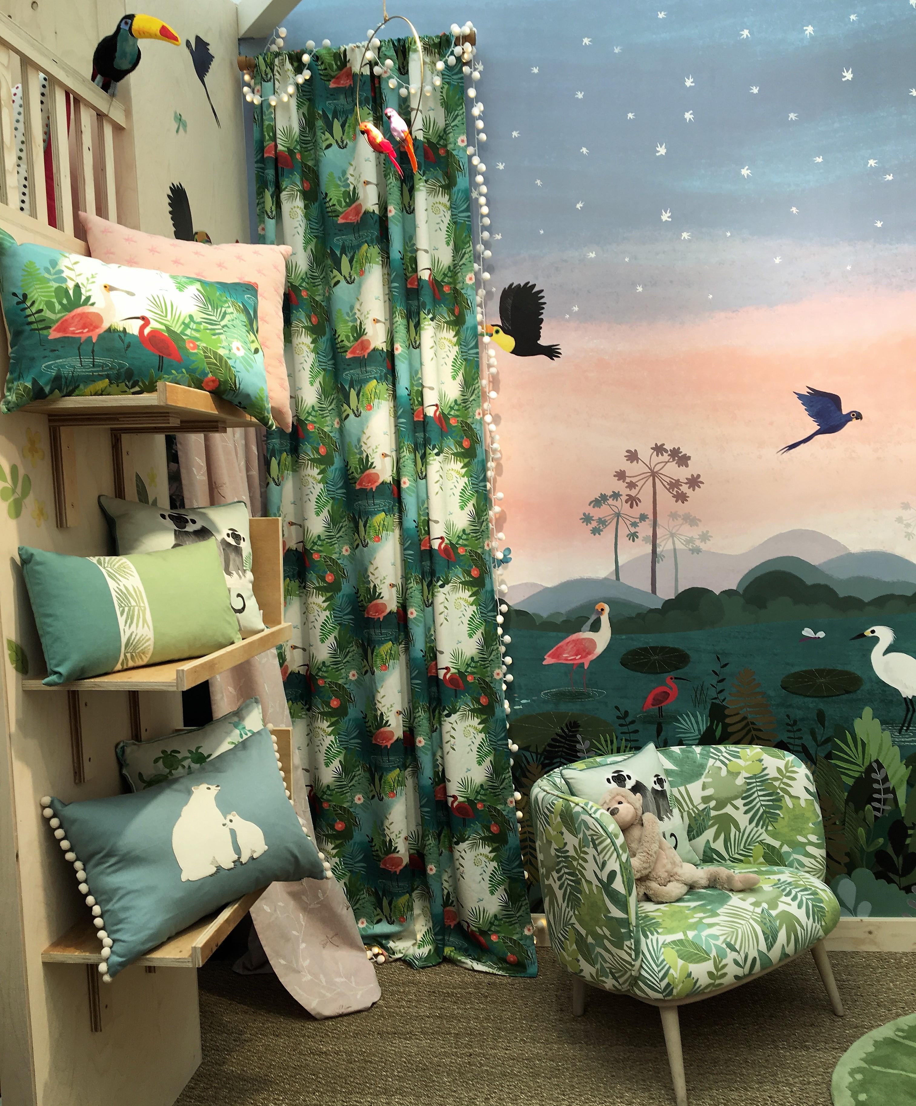 """Picture Book"" new range of fabrics by Fabric house villa nova at Decorex 2018 design exhibition"