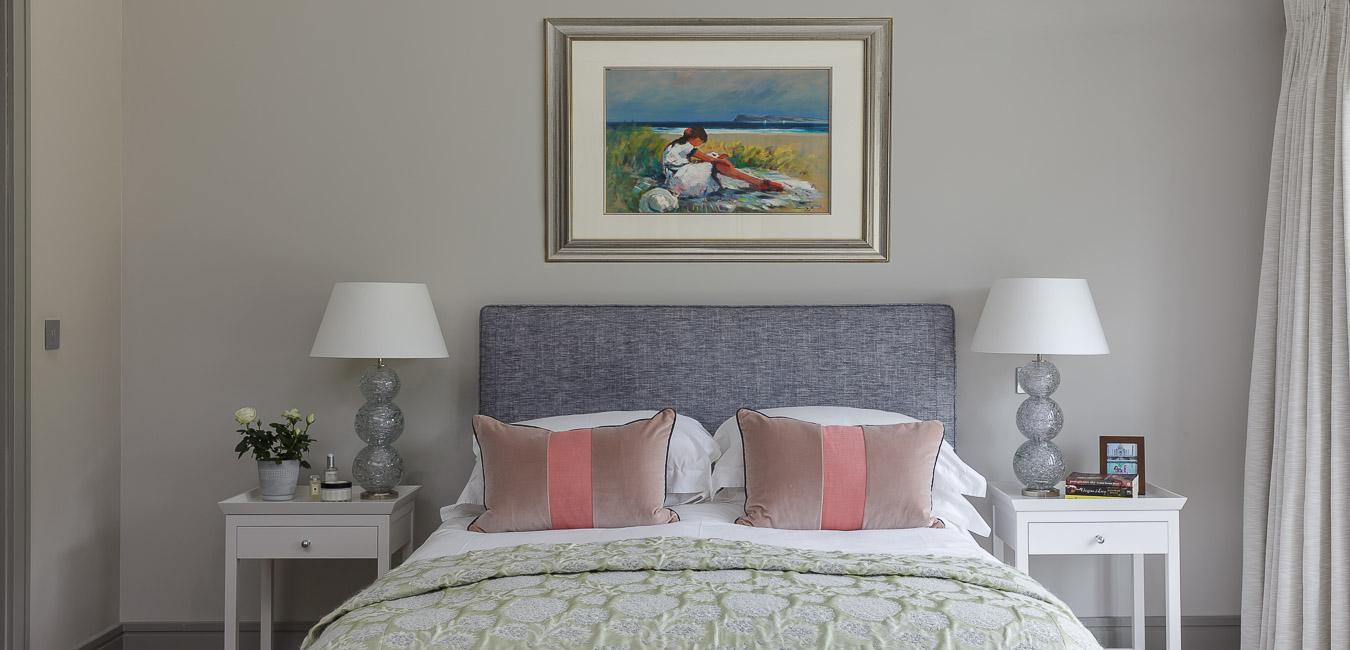 Elegant master bedroom with Vaughan lights in Cobham Surrey