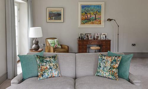 Elegant sitting room scheme in a townhouse in Cobham designed by surrey based interior designer Hilary White