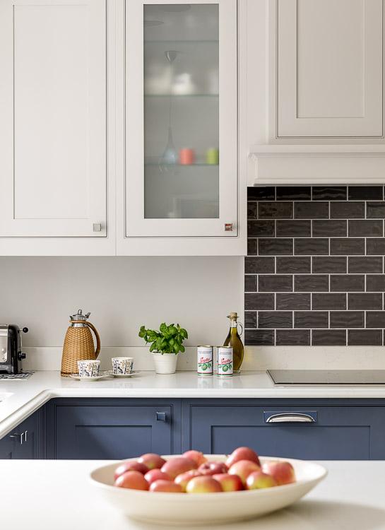 dark blue shaker kitchen designed by interior designer Hilary White in cobham surrey