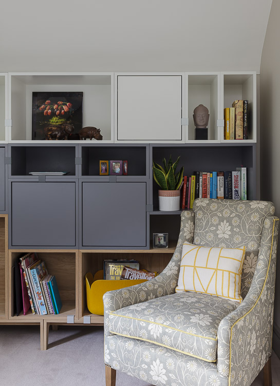 Sofa.com armchair and muuto storage unit in a study in a townhouse in Cobham