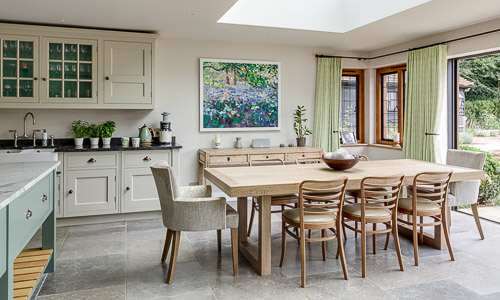 Kitchen design in a period property in Peaslake in the Surrey Hills by interior designer Hilary White