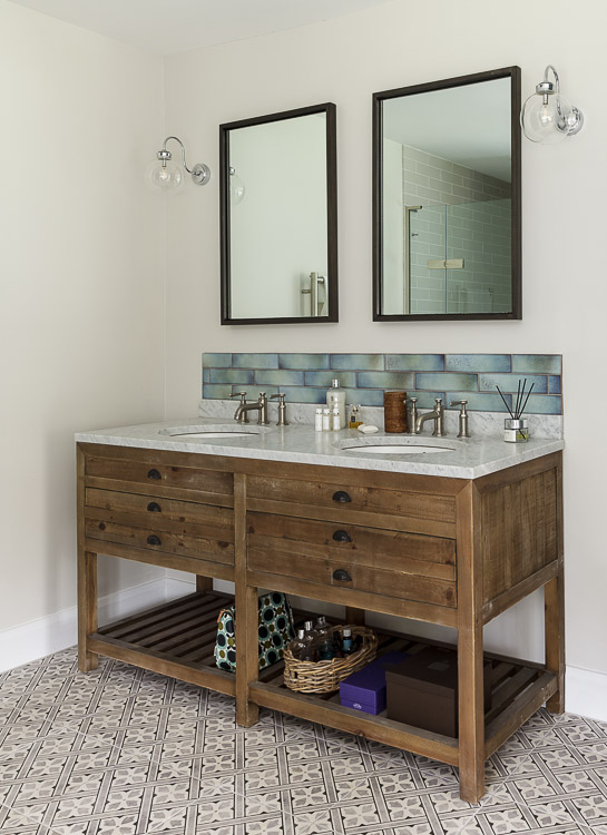 Modern Country bathroom vanity unit from restoration hardware in a country house in Peaslake