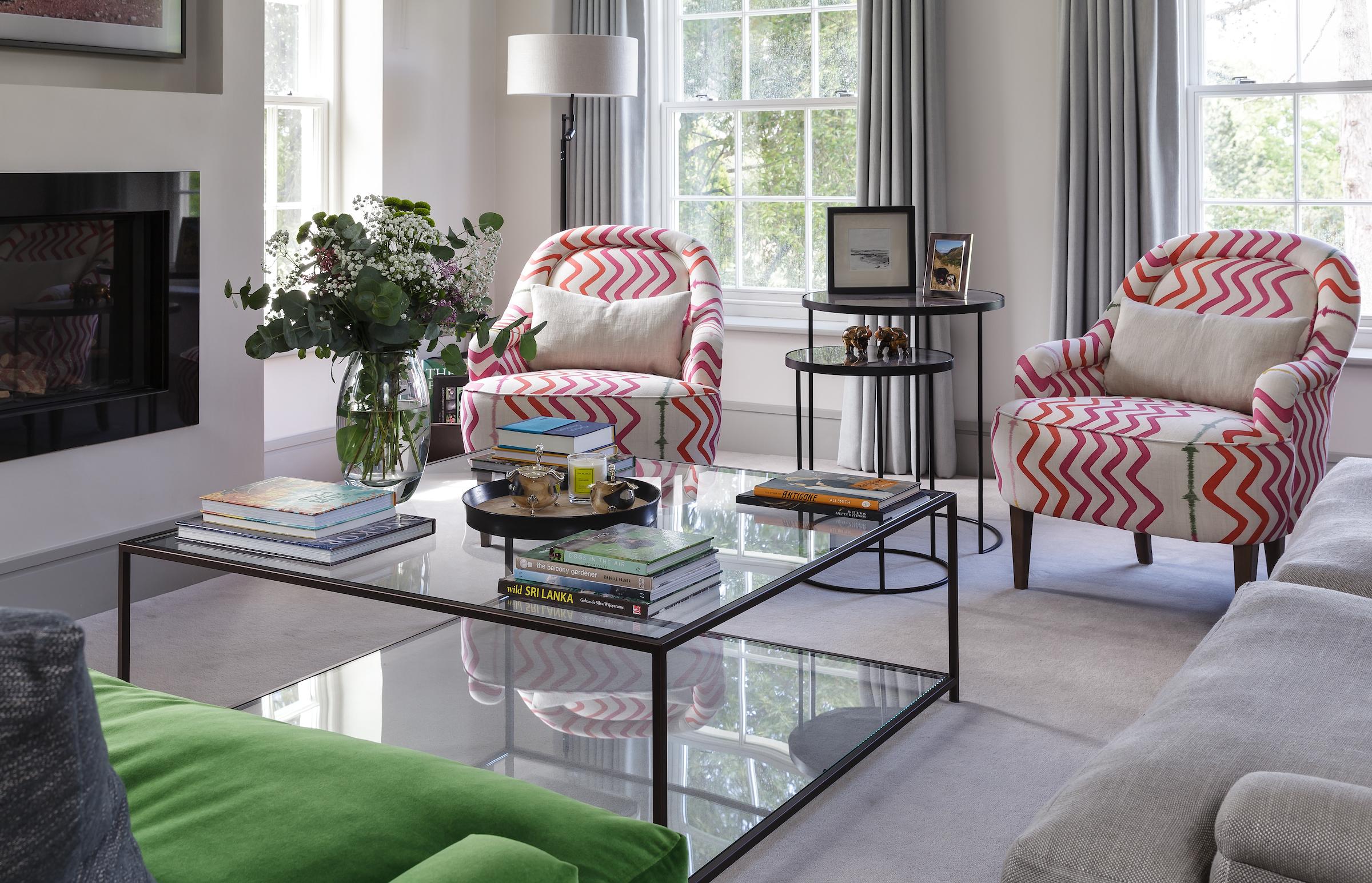 Kit Kemp Rick Rack fabric on armchairs interior Design by Hilary White