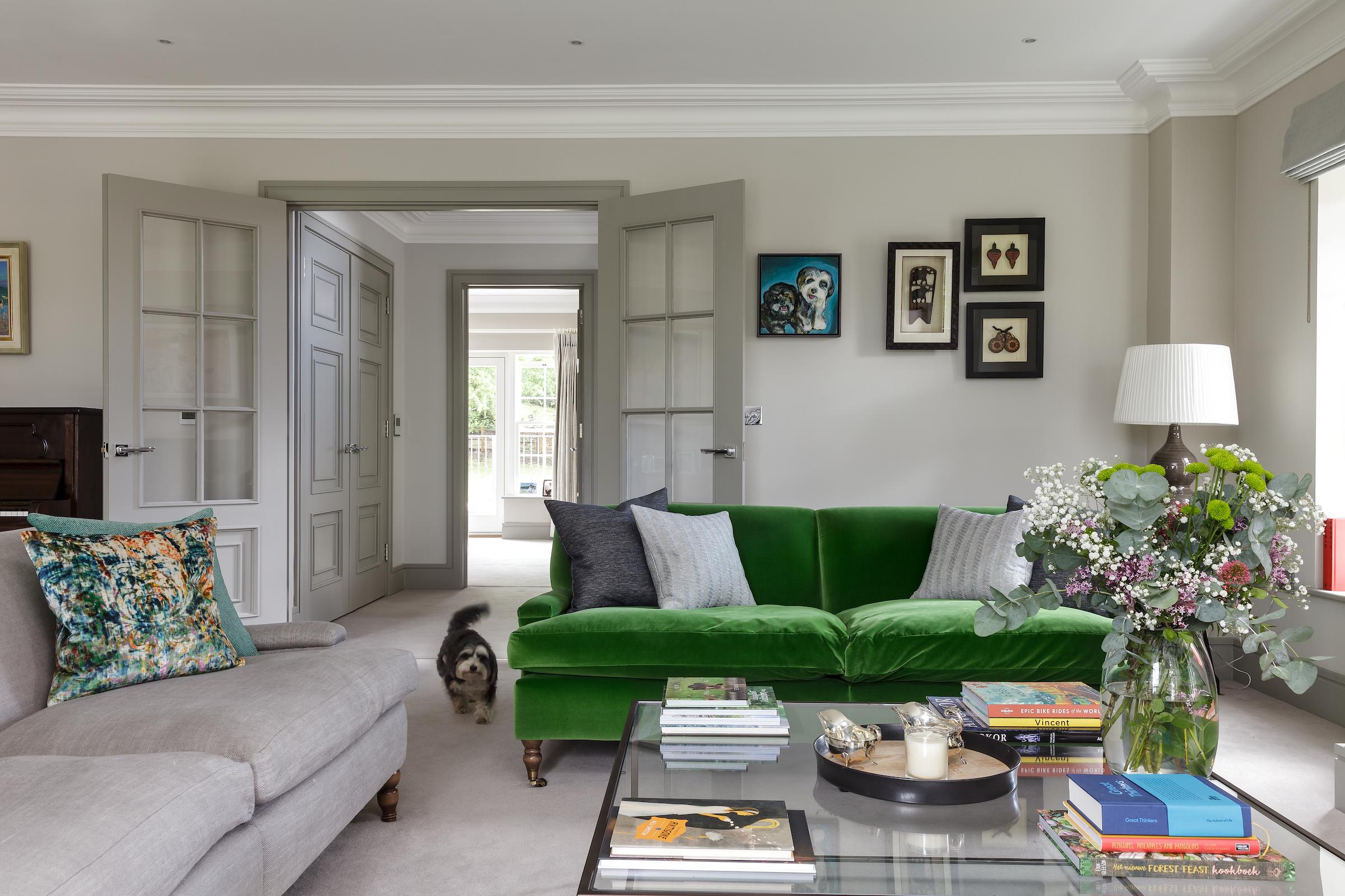 Emerald Green Velvet sofa in Designers Guild Fabric